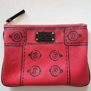 Kate Spade Hand Drawn Large Red Flat Cosmetics Bag